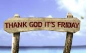 Fotografie Gott sei Dank ist es Freitag hölzerne Zeichen
