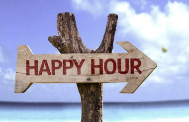 Happy Hour wooden sign
