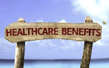 Healthcare Benefits wooden sign