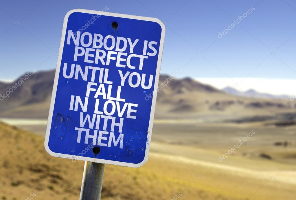 Nobody is Perfect Until You Fall In Love With Them sign