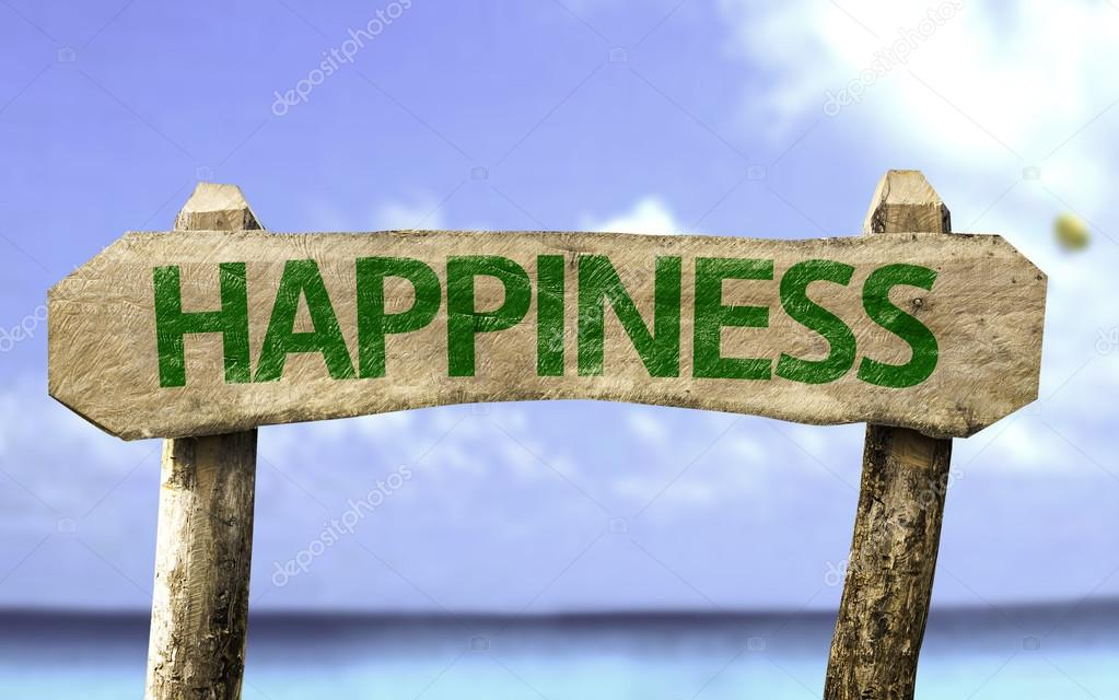 Happiness wooden sign