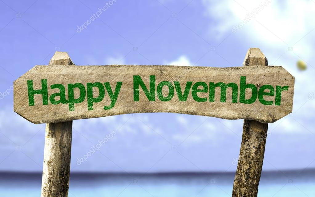 Happy November wooden sign
