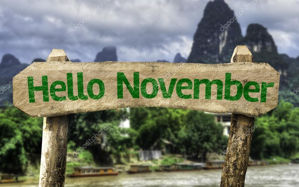 Hello November wooden sign