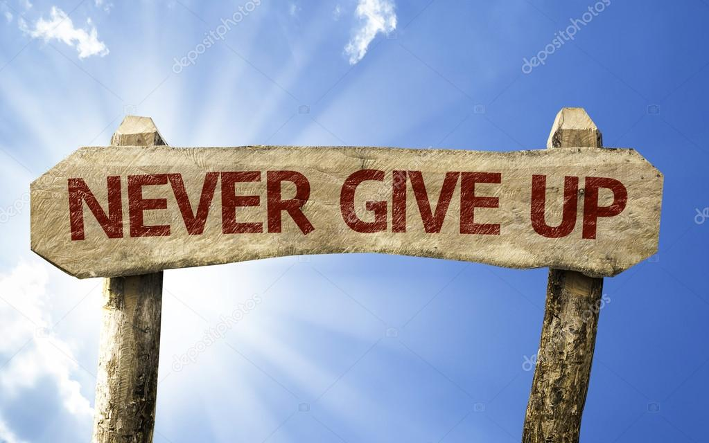 Never Give Up wooden sign