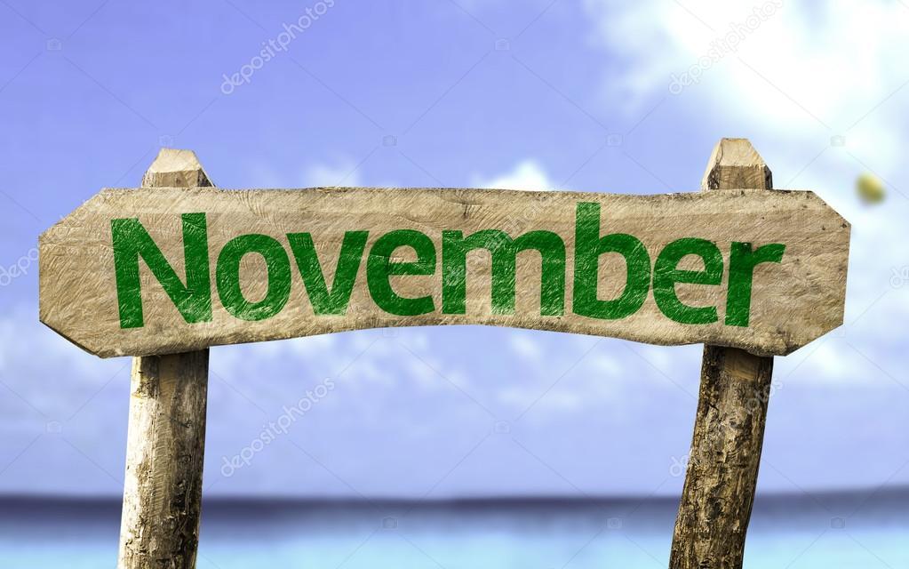 November wooden sign