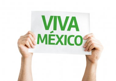 Viva Mexico card isolated on white background