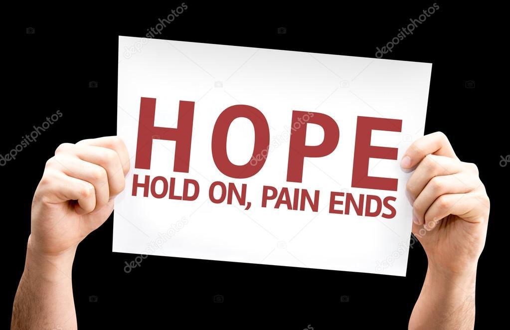 Nadeje Hold On Bolest Konci Karta Stock Fotografie