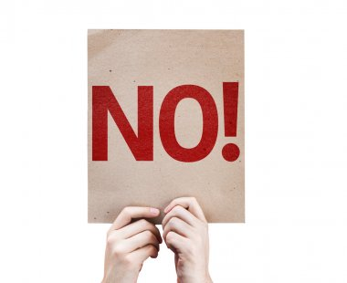 No!Text on card