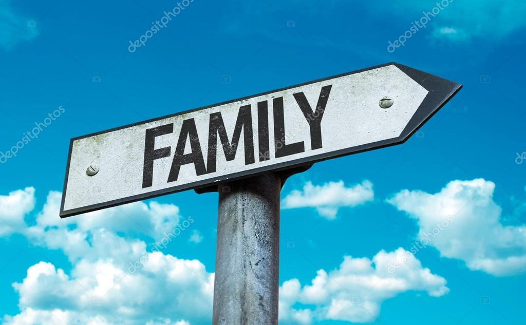 Family sign with sky