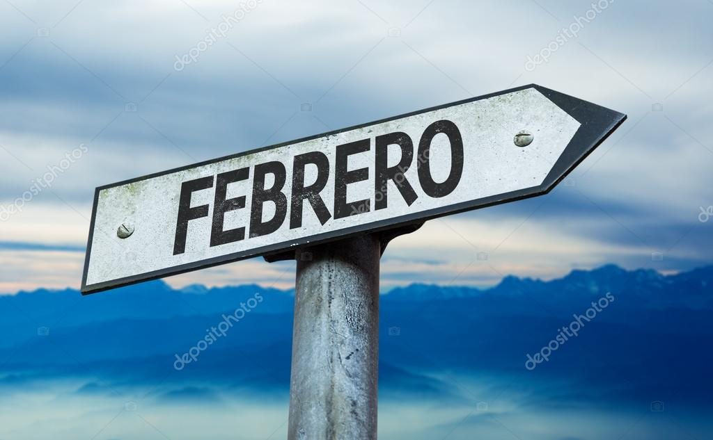 February (in Spanish) sign