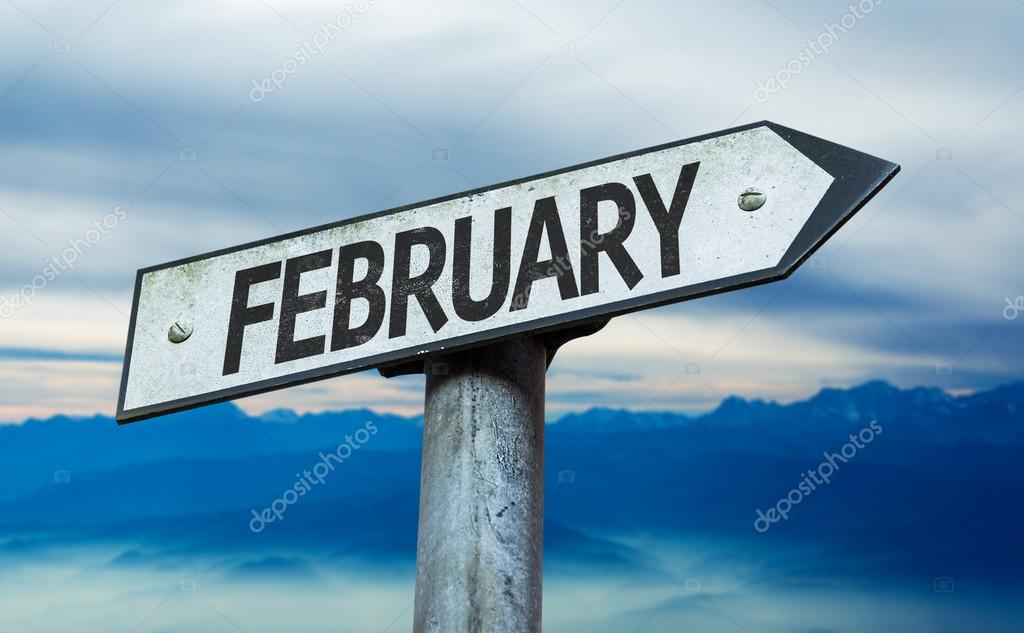February sign with sky