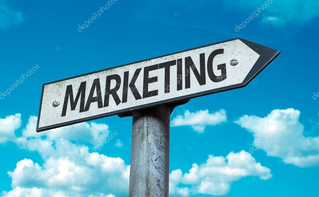 Text:Marketing on sign