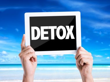 Tablet pc with text Detox