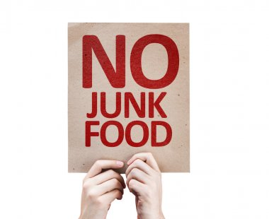 No Junk Food card isolated on white background stock vector