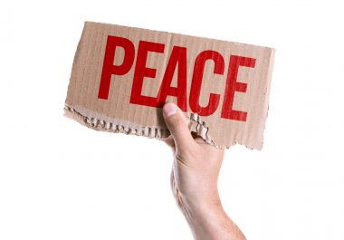 Peace card in hand