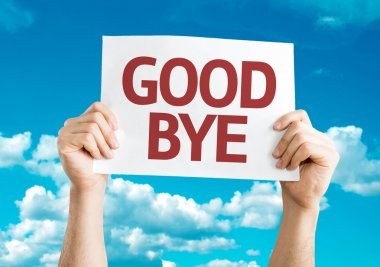 Goodbye card in hands