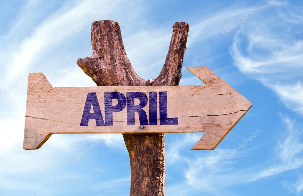 April wooden sign