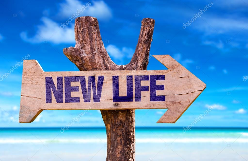 New Life wooden sign