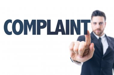 Man with text: Complaint
