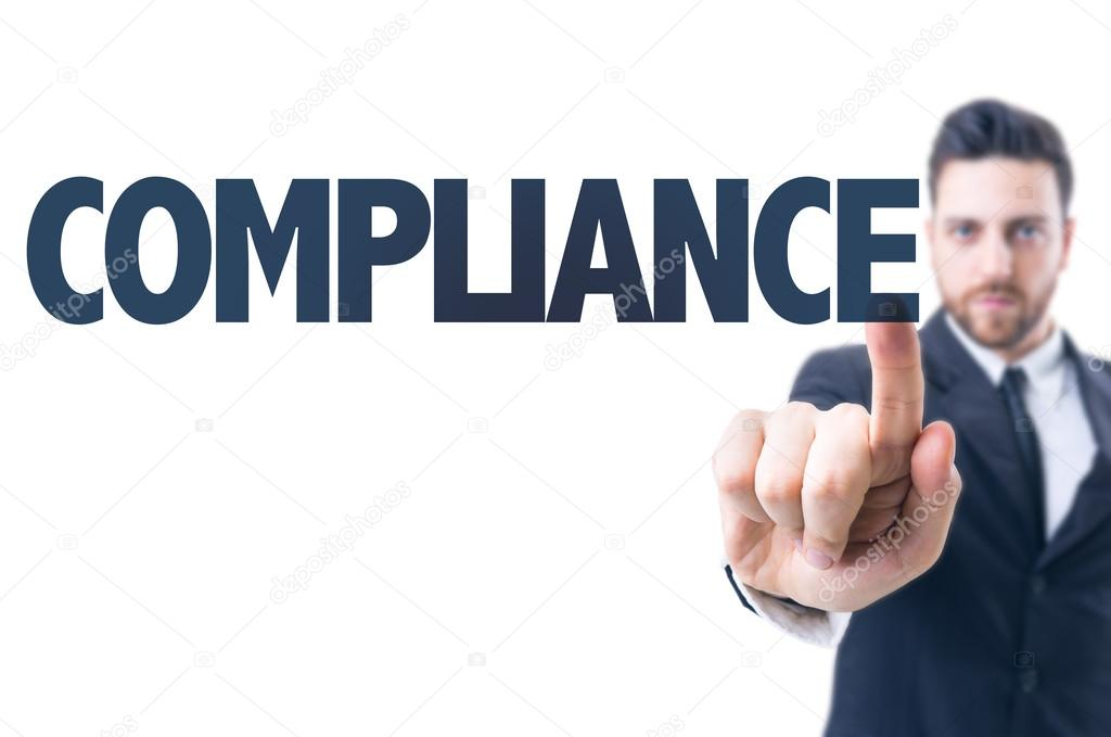 Man with  text: Compliance