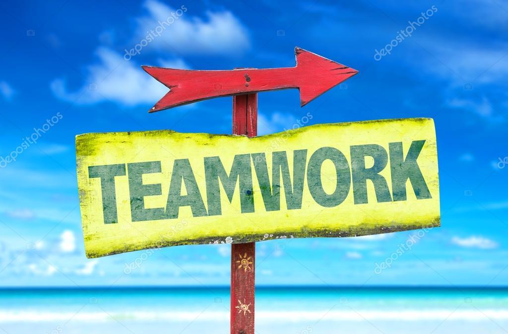 Text :Teamwork  on sign