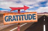 Gratitude text sign