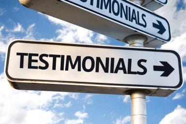 Testimonials direction sign