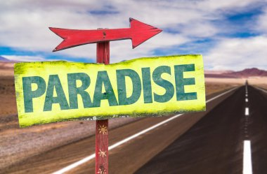 paradise text sign