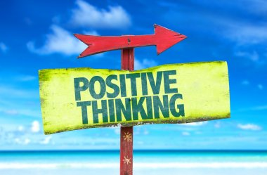 Positive Thinking text sign with beach background stock vector