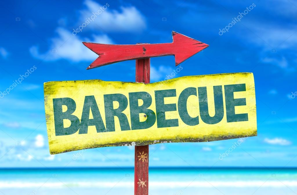 barbecue text sign