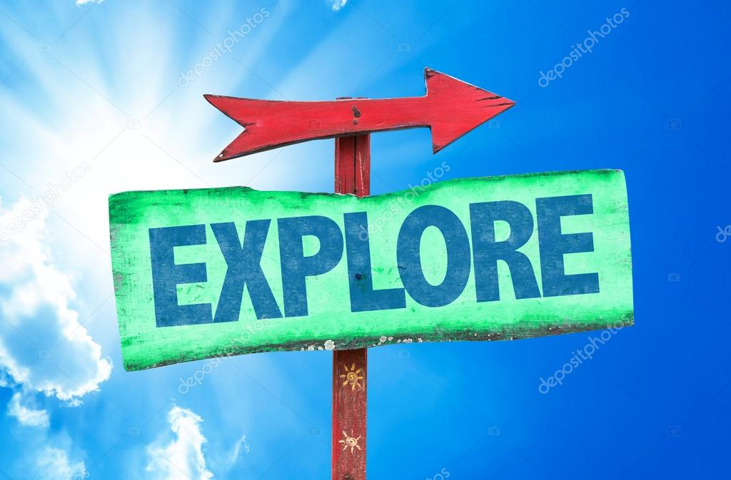 explore text sign