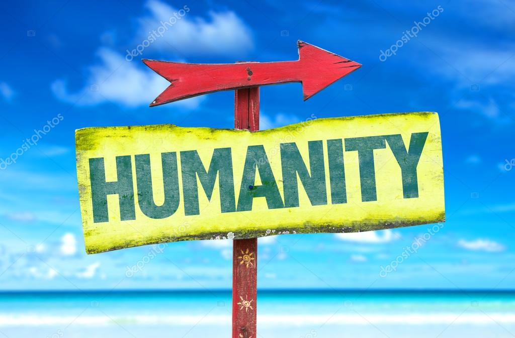 Humanity text sign