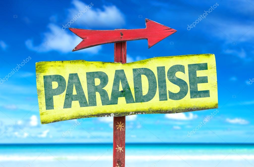 paradise text sign