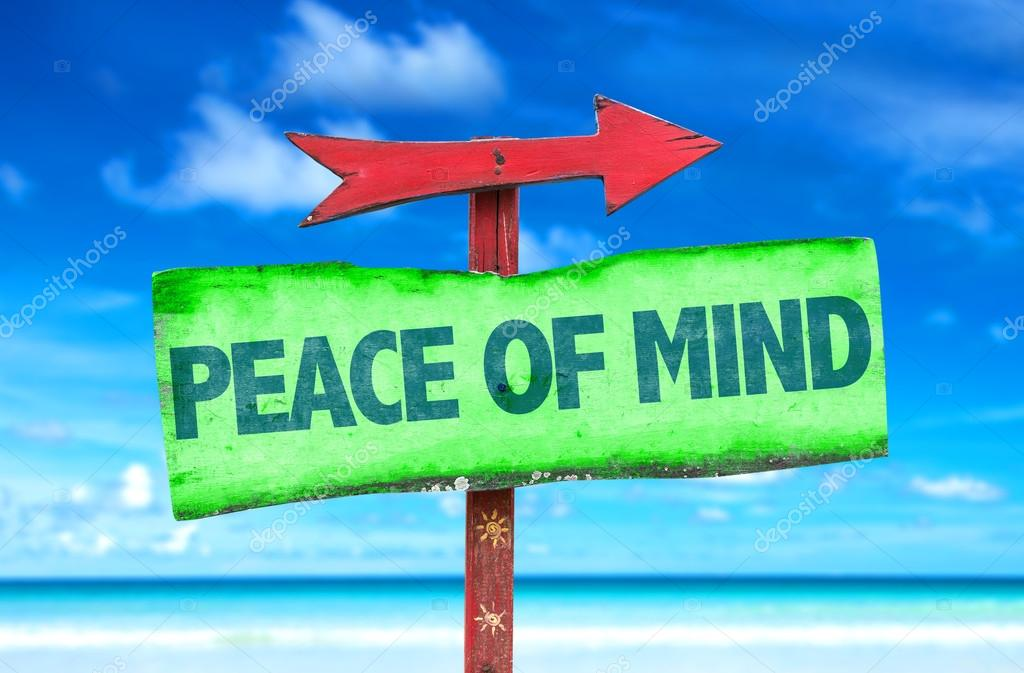 Peace of Mind text sign