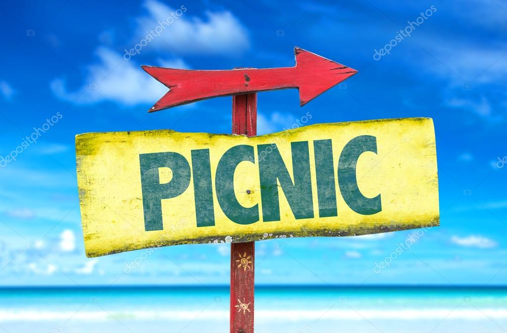Picnic text sign