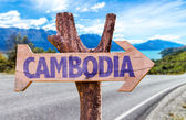 Photo Cambodia wooden sign