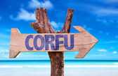 Fotografie Corfu-Holz-Schild