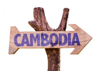 Cambodia wooden sign