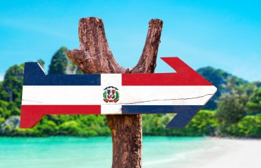 Dominican Republic Flag wooden sign