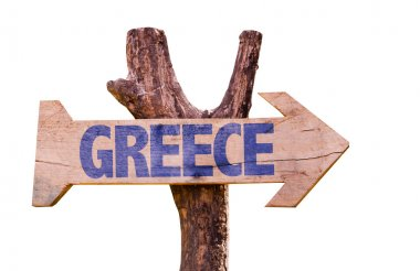 Greece wooden sign