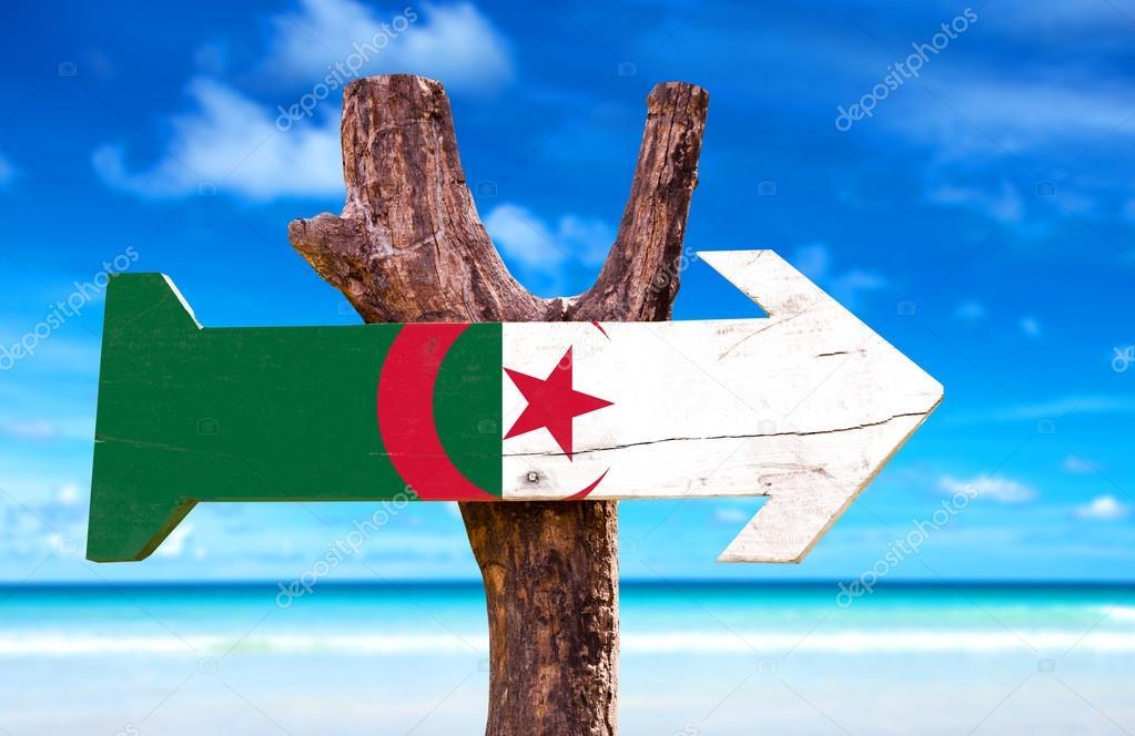 Algeria Flag wooden sign