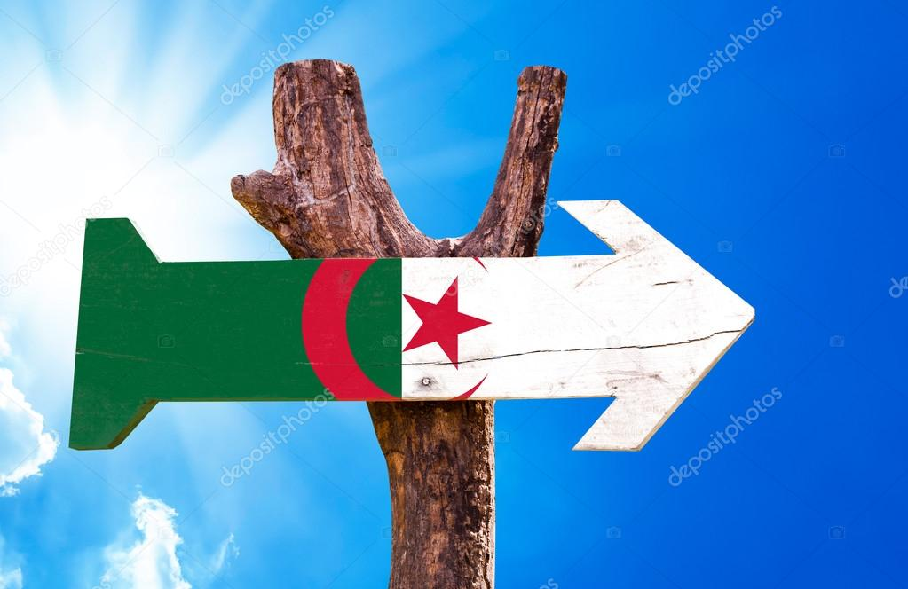 Algeria Flag wooden sign