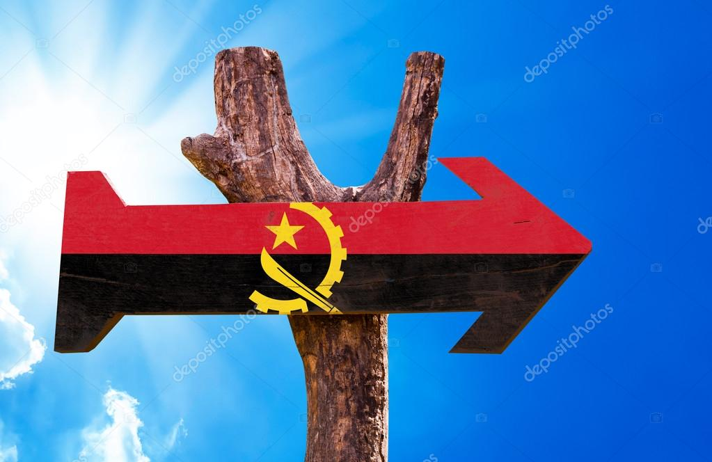 Angola Flag wooden sign