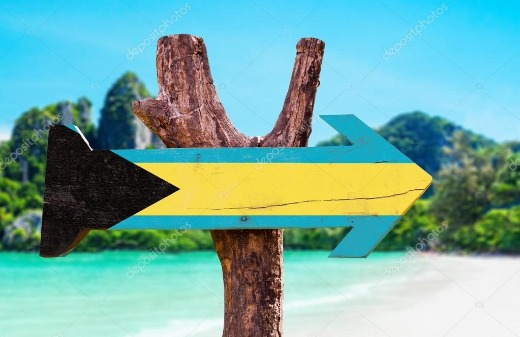 Bahamas Flag wooden sign