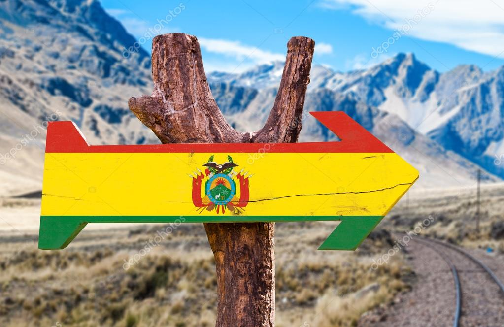 Bolivia Flag wooden sign