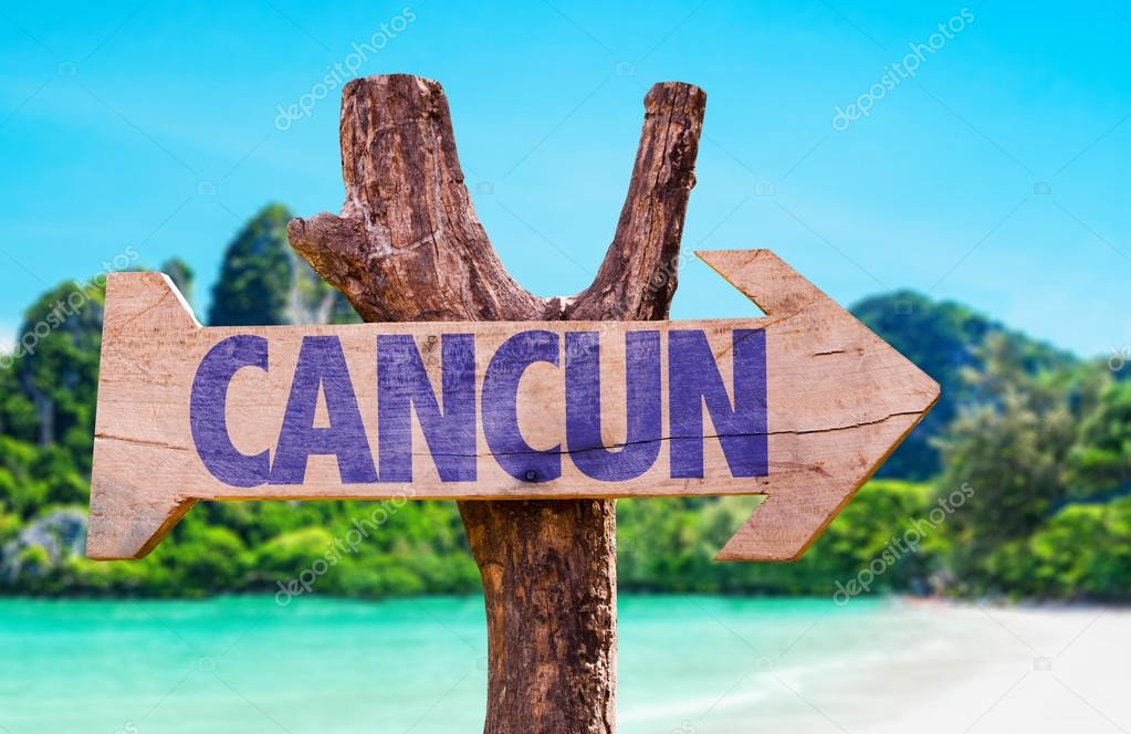 Cancun wooden sign