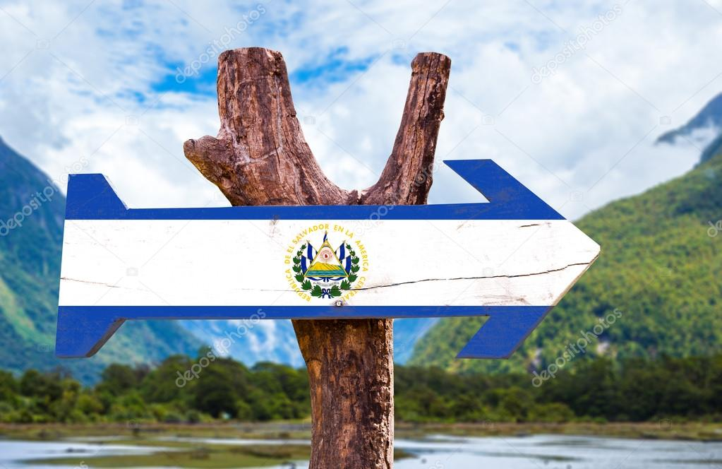 El Salvador Flag wooden sign
