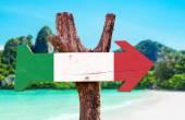 Segno di legno bandiera Italia