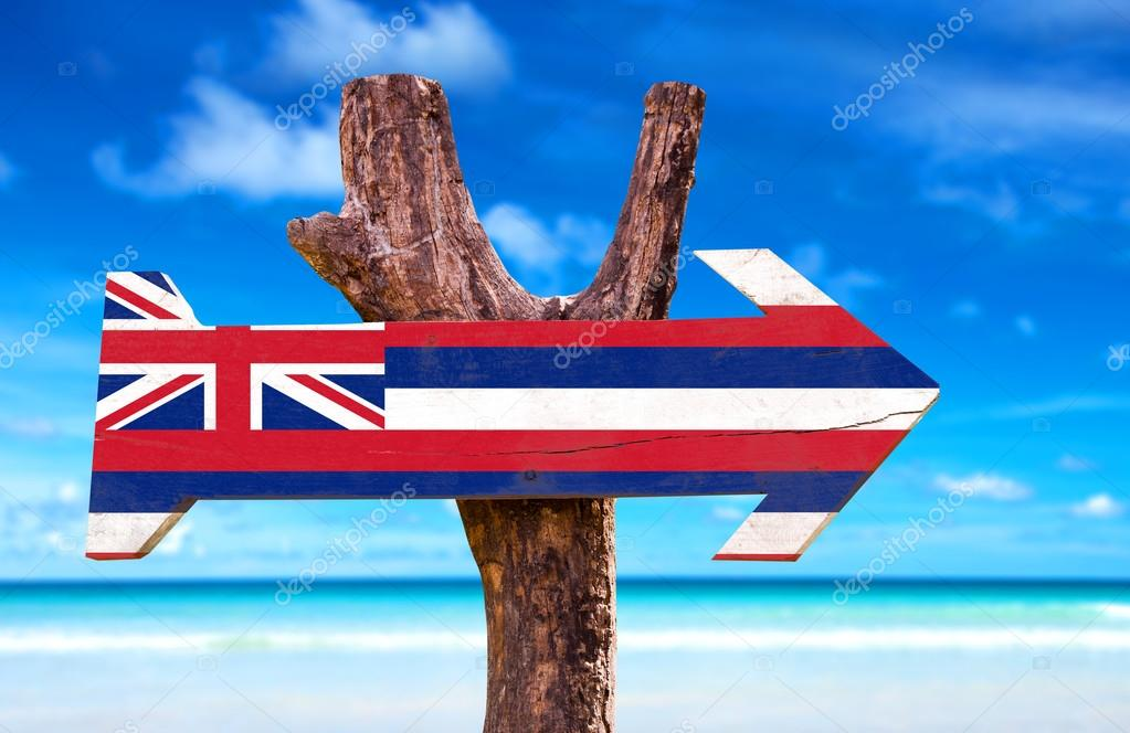 Hawaii Flag wooden sign