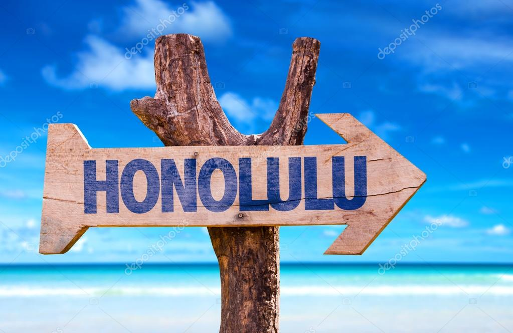 Honolulu wooden sign